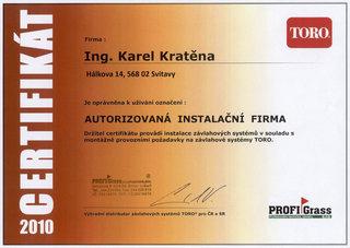 Certifikát výhradního distributora značky Toro